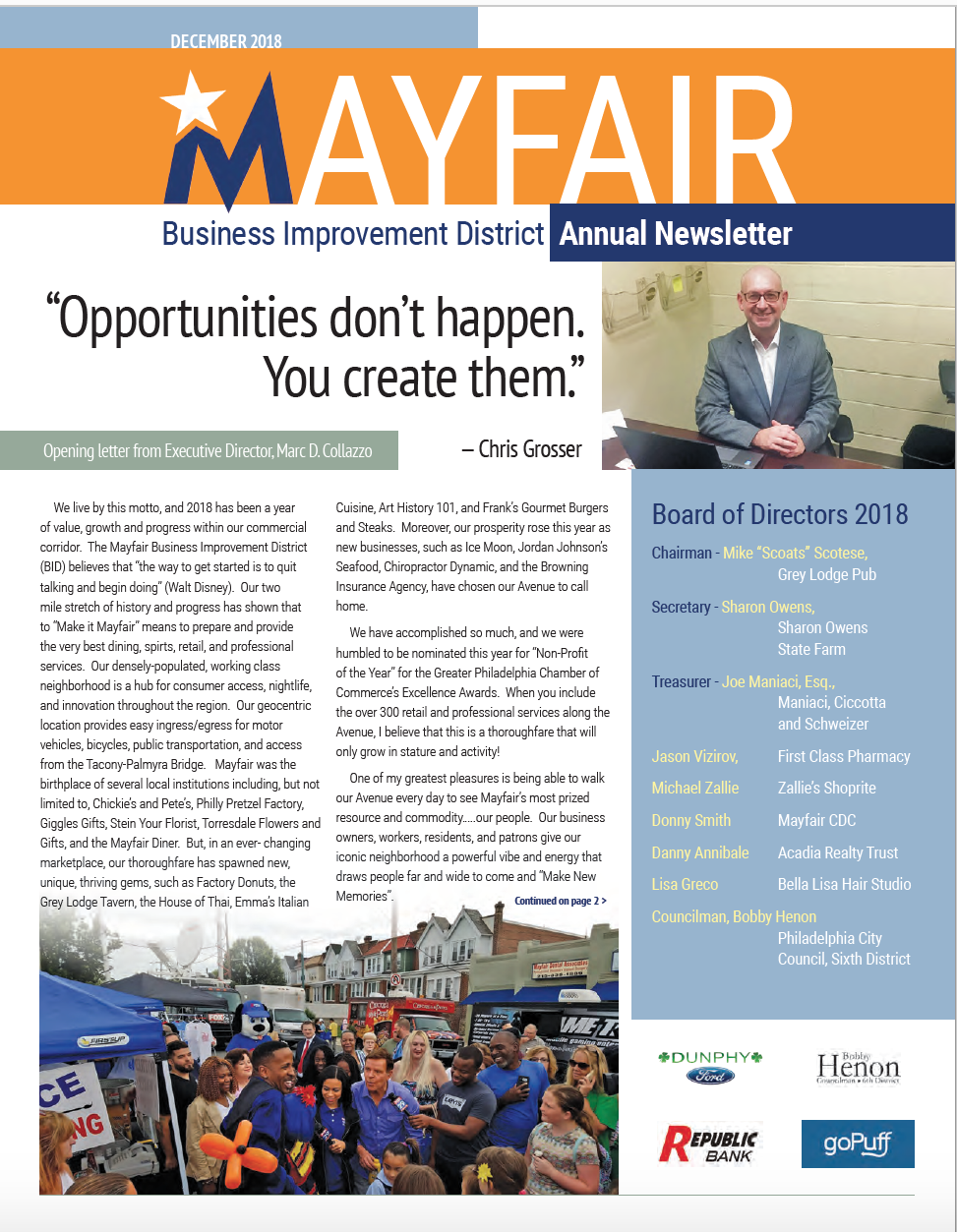 Mayfair Business Improvement District 2018 Annual Report