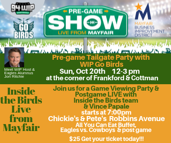 Oct 20 Eagles vs Cowboys Tailgate & Game Watching party